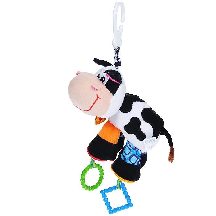 Playgro Игрушка-подвеска Корова0182953Игрушка-подвеска Playgro Корова непременно понравится вашему малышу и надолго займет его внимание. Игрушка выполнена из различных по фактуре материалов в виде мягконабивной коровы. В ее лапках находится шуршащий элемент, к двум из них подвешены пластиковые рельефные кольца, внутри тельца расположена погремушка. Благодаря пластиковому незамкнутому кольцу, прикрепленному к корове яркой резинкой, игрушку можно подвесить к кроватке, коляске, автокреслу или игровой дуге малыша. Игрушка-подвеска Playgro Корова в игровой форме поможет малышу развить мелкую моторику рук, координацию движений, тактильные ощущения, а также цвето- и звуковосприятие. Характеристики: Рекомендуемый возраст: от 0 месяцев. Материал: текстиль, пластик. Высота подвески: 40 см. Изготовитель: Китай.