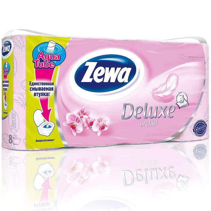 Zewa Туалетная бумага Deluxe. Орхидея, трехслойная, цвет: розовый, 8 рулонов02.03.05.5368Ароматизированная туалетная бумага Zewa Deluxe. Орхидея обладает приятным ароматом орхидеи. Трехслойные листы розового цвета имеют рисунок с тиснением. Бумага мягкая, нежная, но в тоже время прочная, не расслаивается и отрывается строго по линии перфорации.