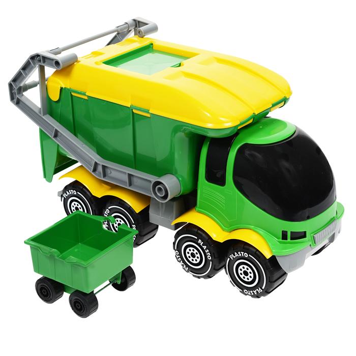 Plasto Мусоровоз цвет зеленый желтый1682Яркий мусоровоз Plasto отлично подойдет ребенку для различных игр. Он выполнен из прочного пластика зеленого и желтого цветов. Его кузов поднимается, чтобы выгрузить мусор. Задняя стенка кузова и люк на крыше открываются. Подъемник с мусорным контейнером поднимается и опускается. Большие колеса автомобиля с крупным протектором обеспечивают игрушке устойчивость и хорошую проходимость. Ваш ребенок сможет прекрасно провести время дома или на улице. Увлекательная сюжетно-ролевая игрушка не только развлекает ребенка, но и вырабатывает такие практические качества, как ловкость и слаженность движений рук, сноровку и координацию, развивает мелкую моторику пальцев, заставляет двигаться и фантазировать.