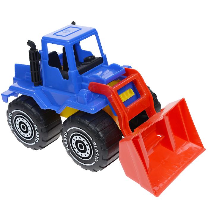 Plasto Бульдозер цвет синий красный1655Яркий колесный бульдозер Plasto привлечет внимание вашего ребенка и не позволит ему скучать! Он изготовлен из прочного безопасного пластика и отлично подойдет ребенку для различных игр как дома, так и на свежем воздухе. Большой ковш поднимается и опускается. В верхнем положении транспортирует груз, для выгрузки он поворачивается на 180° вокруг своей оси. Большие колеса с крупным протектором обеспечивают машине устойчивость и хорошую проходимость. Ваш ребенок с удовольствием будет играть с пожарной машиной, придумывая различные истории.