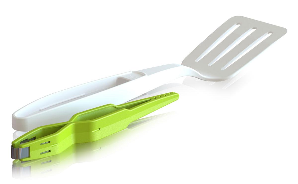 Лопатка + щипцы VacuVin, цвет: зеленый, белый4667660Инструменты VacuVin имеют широкий диапазон использования. С помощью лопатки можно перевернуть более крупные ингредиенты. Щипцы, которые хранятся в рукоятке, помогут захватить и перевернуть более мелкие продукты во время приготовления. Изделия выполнены из прочного нейлона, идеально подходят для антипригарных покрытий. Удобные и простые в использовании устройства станут достойным дополнением к коллекции ваших кухонных аксессуаров.