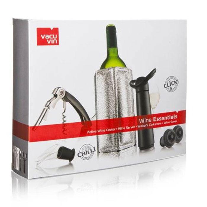 Подарочный набор VacuVin Wine Essentials, 6 предметов6889060Подарочный набор №4 Essentials от Vacu Vin – это прекрасный подарок как для начинающих, так и для опытных ценителей вина. С его помощью вино можно охладить, открыть, разлить и сохранить. В набор входит: охладительная рубашка для вина, универсальный штопор официанта, прозрачный каплеуловитель, вакуумный насос и 2 пробки.