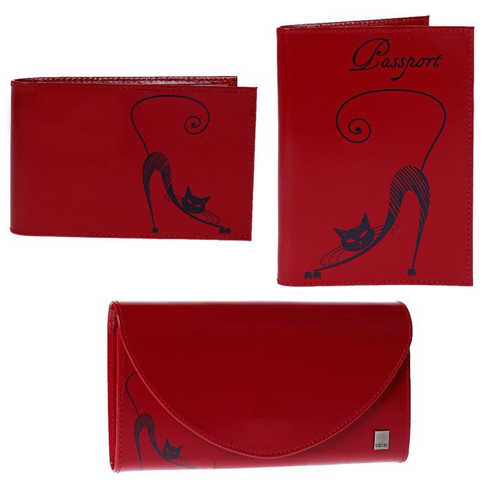 Подарочный набор Befler Изящная Кошка: обложка для паспорта, портмоне, визитница, цвет: красный. O.31/PJ.66/V.37.-1O.31/PJ.66/V.37.-1.redПодарочный набор Befler Изящная Кошка состоит из обложки для паспорта, портмоне и визитницы. Предметы набора выполнены из натуральной кожи красного цвета и украшены декоративным тиснением в виде черной кошки. Обложка внутри имеет два вертикальных кармана из прозрачного пластика с выемкой и два вертикальных кармана из технологичного материала. Портмоне закрывается широким клапаном на кнопку. Внутри имеет два отделения для купюр, глубокий карман для бумаг, шесть кармашков для кредитных карт и карман для мелочи на застежке-молнии. На внешней стороне расположен дополнительный открытый карман для бумаг. Компактная горизонтальная визитница - стильная вещь для хранения визиток. Визитница предназначена для хранения 20 визиток. Подарочный набор Befler Изящная Кошка станет великолепным подарком для человека, ценящего качественные и практичные вещи. Характеристики: Материал: натуральная кожа, текстиль, металл. Размер обложки (в закрытом виде): 9 см x...