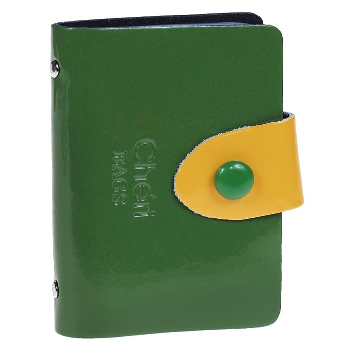 Визитница Cheribags, цвет: зеленый, желтый. V-0499-14V-0499-14Элегантная визитница Cheribags - стильная вещь для хранения визиток. Визитница выполнена из натуральной лаковой кожи, закрывается с помощью хлястика на металлическую кнопку. Внутри содержит блок из мягкого пластика, рассчитанный на 26 визиток. Такая визитница станет замечательным подарком человеку, ценящему качественные и практичные вещи.