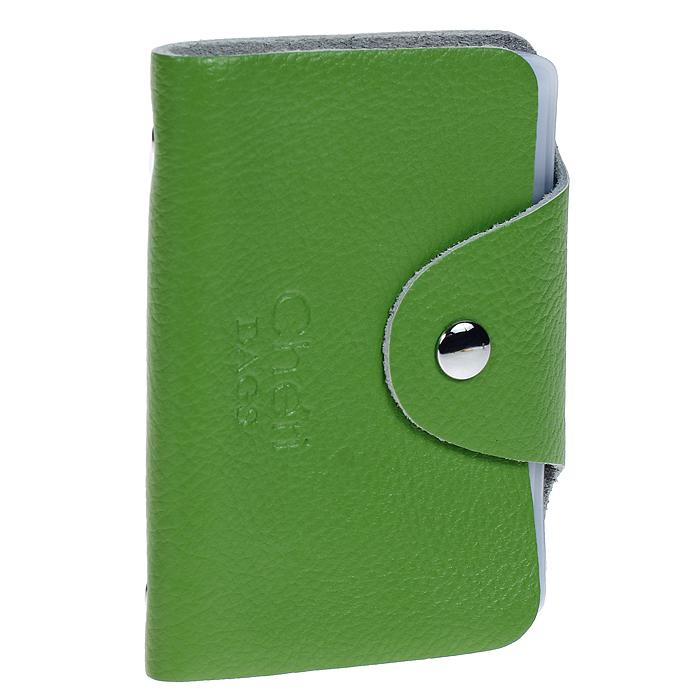 Визитница Cheribags, цвет: зеленый. V-0489-14V-0489-14Элегантная визитница Cheribags - стильная вещь для хранения визиток. Визитница выполнена из натуральной кожи, закрывается клапаном на металлическую кнопку. Внутри содержит блок из мягкого пластика, рассчитанный на 26 визиток. Такая визитница станет замечательным подарком человеку, ценящему качественные и практичные вещи.