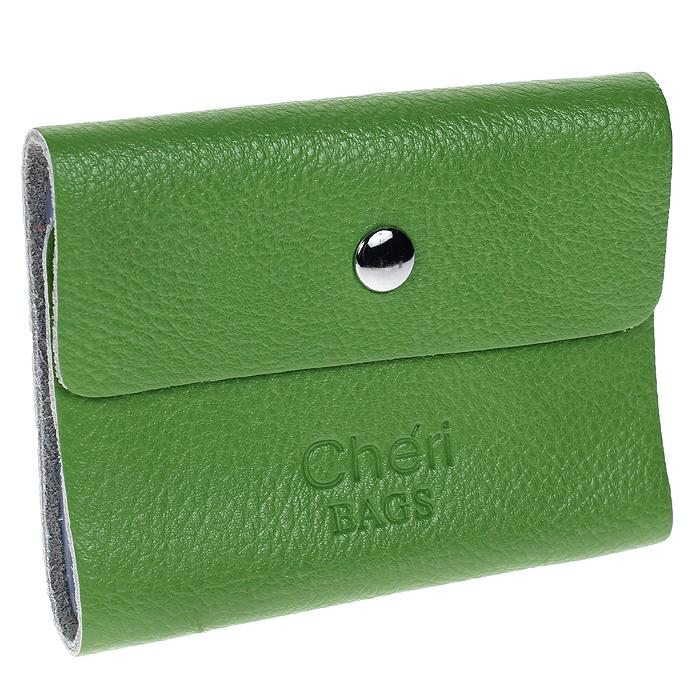 Визитница Cheribags, цвет: зеленый. V-0488-14V-0488-14Элегантная визитница Cheribags - стильная вещь для хранения визиток. Визитница выполнена из натуральной кожи зеленого цвета, закрывается на кнопку. Внутри содержит блок из мягкого пластика, рассчитанный на 26 визиток. Такая визитница станет замечательным подарком человеку, ценящему качественные и практичные вещи. Характеристики: Материал: натуральная кожа, текстиль, металл. Размер визитницы (в закрытом виде): 10 см х 1,5 см х 8 см. Цвет: зеленый. Артикул: V-0488-14.
