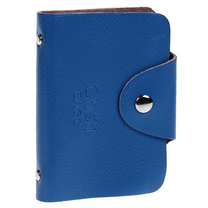 Визитница Cheribags, цвет: синий. V-0489-17V-0489-17Элегантная визитница Cheribags - стильная вещь для хранения визиток. Визитница выполнена из натуральной кожи, закрывается клапаном на металлическую кнопку. Внутри содержит блок из мягкого пластика, рассчитанный на 26 визиток. Такая визитница станет замечательным подарком человеку, ценящему качественные и практичные вещи.