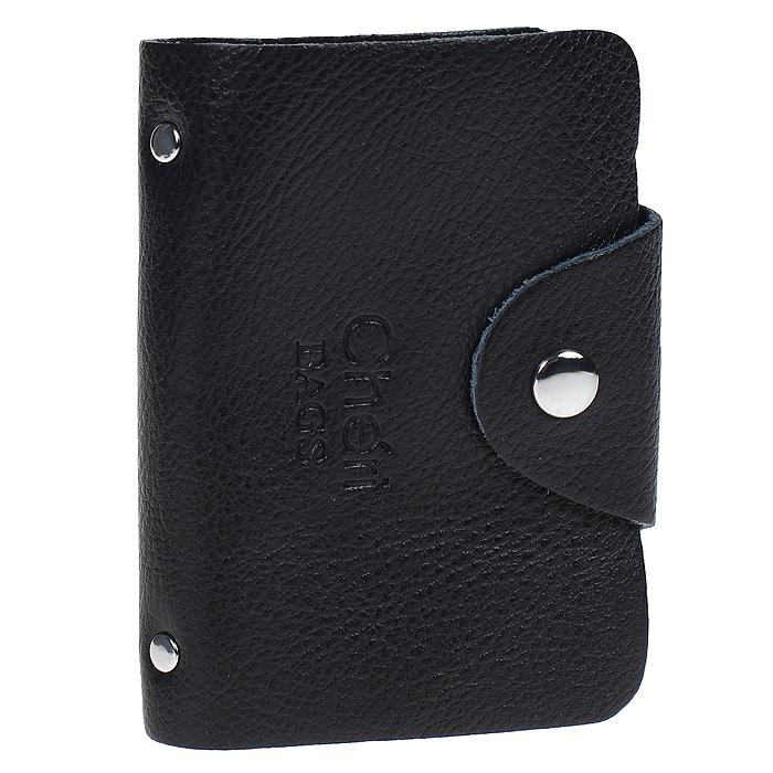 Визитница Cheribags, цвет: черный. V-0489-10V-0489-10Элегантная визитница Cheribags - стильная вещь для хранения визиток. Визитница выполнена из натуральной кожи, закрывается клапаном на металлическую кнопку. Внутри содержит блок из мягкого пластика, рассчитанный на 26 визиток. Такая визитница станет замечательным подарком человеку, ценящему качественные и практичные вещи.