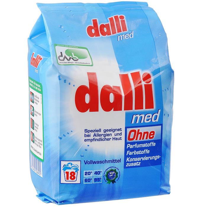 Универсальный антиаллергенный стиральный порошок Dalli Med, 1,215 кг526901Dalli Med универсальный концентрированный гипоаллергенный стиральный порошок для стирки белья младенцев и людей с чувствительной кожей. Не содержит фосфаты, ароматизаторы и красители. Хватает на 18 стирок. Дозировка: нормальное загрязнение, средняя вода - 85 мл (67,5 г), ручная стирка 30 мл на 10 л воды.