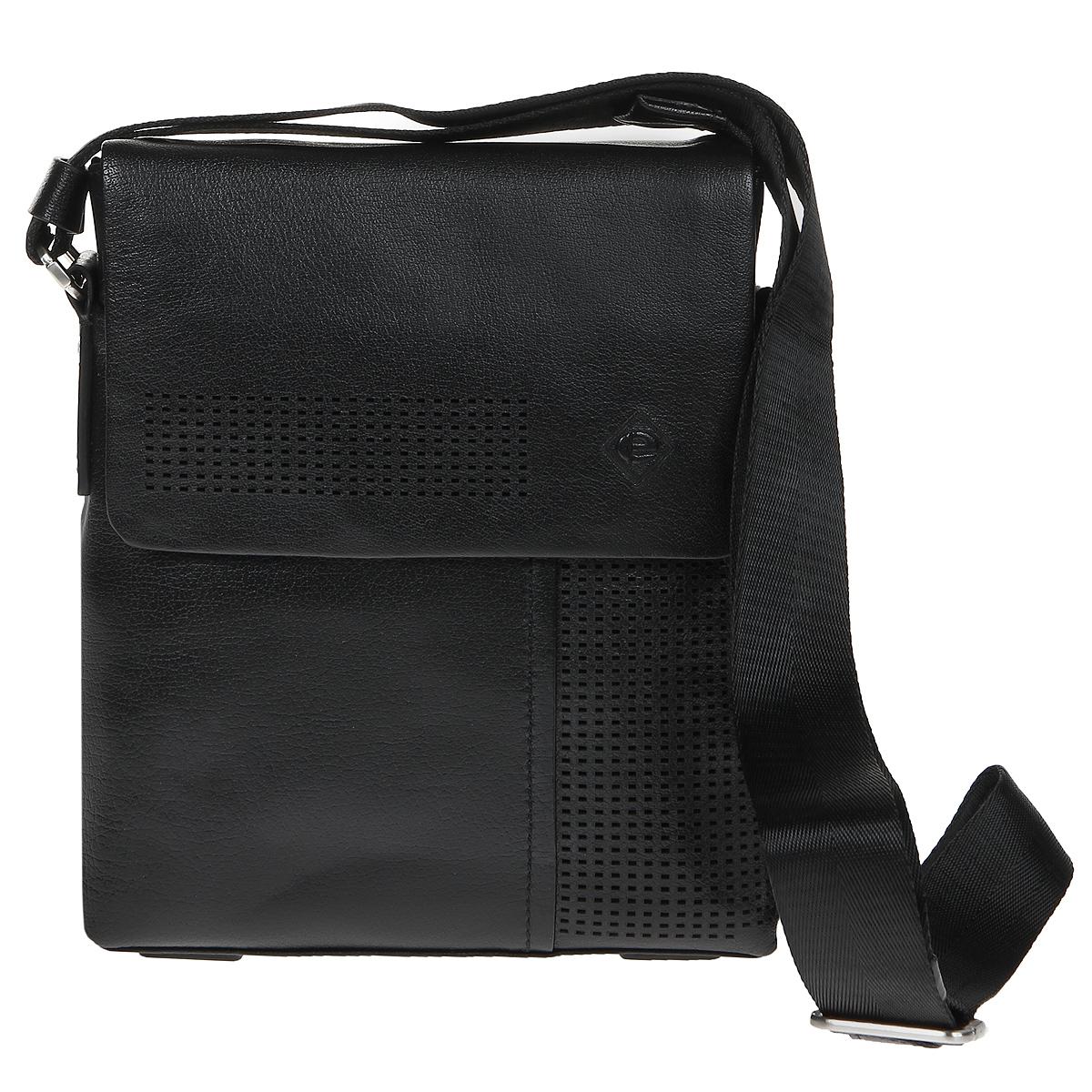 Сумка мужская Edmins, цвет: черный. 1322А-3 BL black1322А-3 BL blackСтильная мужская сумка Edmins выполнена из высококачественной натуральной кожи черного цвета. Сумка с удобным регулируемым плечевым ремнем, застегивается на застежку-молнию и дополнительно клапаном на магнитные кнопки. Внутри - одно вместительное отделение, вшитый карман на молнии, открытый карман, два кармашка для мобильного телефона и мелочей, два кармашка для пишущих принадлежностей. Под клапаном расположен открытый карман. На задней стороне так же расположен вшитый карман на молнии. Такая сумка станет идеальным дополнением к вашему образу!