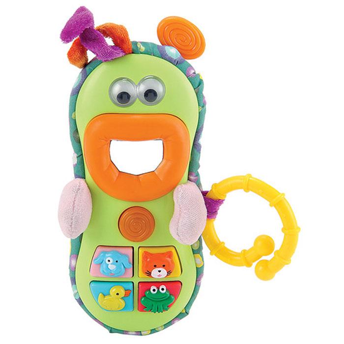 Развивающая игрушка Happy Baby Веселый телефон330308Яркая развивающая игрушка Happy Baby Веселый телефон привлечет внимание вашего малыша и не позволит ему скучать. Она выполнена из прочного пластика и текстильных материалов в виде необычного телефона с глазками, ротиком и ручками. Зрачки в глазках перекатываются. В центре ротика расположено небольшое безопасное зеркальце. На корпусе телефончика расположены четыре кнопки с изображениями собачки, котика, уточки и лягушки, а также кнопка звонка. При нажатии на кнопки малыш услышит звуки, издаваемые животными, или веселые мелодии. При воспроизведении звуковых эффектов в кнопке звонка мигает огонек, развлекая малыша. С помощью пластикового кольца, которое находится сбоку игрушки, ее можно закрепить на кроватке, коляске, кресле или игровой дуге малыша. Игрушка Веселый телефон способствует развитию у ребенка цветового и звукового восприятия, памяти, мышления, тактильный ощущений и мелкой моторики рук.