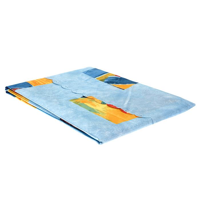 """Скатерть с рисунком """"Sifra"""", овальная, цвет: голубой, 110 x 160 см. 8916/71"""