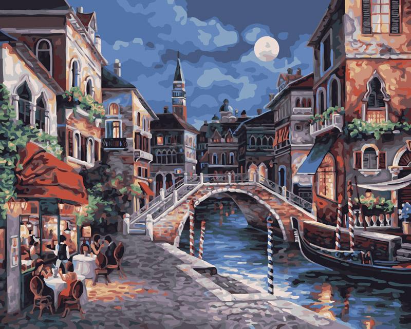 Живопись на холсте Ночная Венеция, 40 см х 50 см350-CG Ночная ВенецияЖивопись на холсте Ночная Венеция - это набор для раскрашивания по номерам акриловыми красками на холсте. В набор входят: - холст на подрамнике с нанесенным рисунком, - пробный лист с нанесенным рисунком, - набор акриловых красок, - 3 кисти, - настенное крепление для готовой картины. Каждая краска имеет свой номер, соответствующий номеру на картинке. Нужно только аккуратно нанести необходимую краску на отмеченный для нее участок. Таким образом, шаг за шагом у вас получится великолепная картина. С помощью серии наборов Живопись на холсте вы можете стать настоящим художником и создателем прекрасных картин. Вы получите истинное удовольствие от погружения в процесс творчества и созданные своими руками картины украсят интерьер вашего дома или станут прекрасным подарком. Техника раскрашивания на холсте по номерам дает возможность легко рисовать даже сложные сюжеты. Прекрасно развивает художественный вкус, аккуратность и внимание....