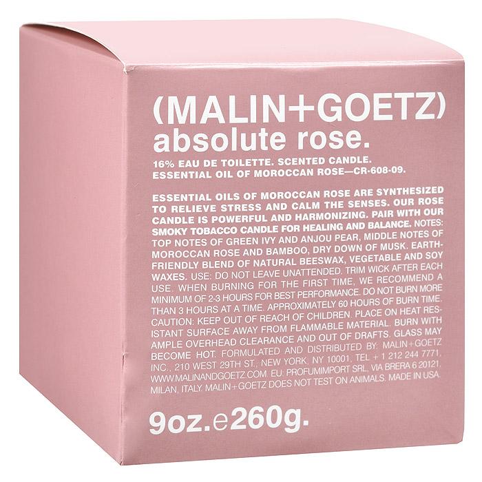 Malin+Goetz Свеча ароматизированная Абсолю розы, 260 гMG131Эфирное масло марокканской розы получено традиционным методом паровой дистилляции (перегонка с водяным паром) и органически синтезировано для создания современного и успокаивающего аромата. Масло розы используется в ароматерапии для борьбы со стрессом и депрессией.