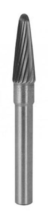 Шарошка карбидная по металлу FIT конусообразная с шарообразным наконечником, 6 мм. 3659536595Шарошка по металлу FIT предназначена для обработки металлических и неметаллических материалов прочностью до HRC70. Изготовлена из легированной стали с карбидным напылением.