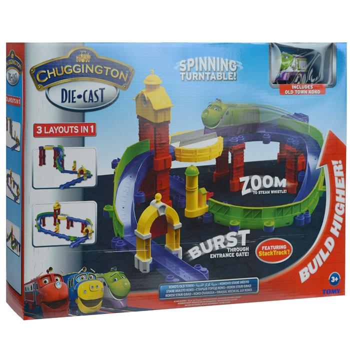 Chuggington игровой набор Старый городLC54223Яркий игровой набор Chuggington Старый город, несомненно, привлечет внимание вашего ребенка и не позволит ему скучать. Набор включает в себя элементы для сборки трека, опоры для создания уровней, башня с часами, вращающаяся платформа, арка с воротами и паровозик Коко. Элементы легко соединяются между собой. Ребенок сможет создавать разные модификации трека. Коко - бесстрашная паровозик-девочка, стилизованная под поезд Евростар. Она быстрее всех, во всем Чаггингтоне не найти паровозик, который бы умел так быстро перевозить грузы. Правда, Коко еще учится в школе юных паровозиков, и поэтому иногда совершает ошибки. У нее есть глаза и носик, а так же очаровательная улыбка. На вагончике имеются детализированные окошки, двери и люки. Впереди и сзади находятся специальные элементы для крепления с другими вагончиками. Ваш ребенок будет часами играть с набором, придумывая разные истории и проигрывая любимые моменты из мультфильма. Порадуйте его таким...