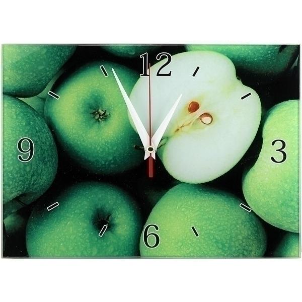 Часы настенные Яблоки, стеклянные, цвет: зеленый. 9530695306Оригинальные настенные часы Яблоки прямоугольной формы выполнены из стекла и оформлены изображением яблок. Часы имеют три стрелки - часовую, минутную и секундную. Циферблат часов не защищен. Необычное дизайнерское решение и качество исполнения придутся по вкусу каждому. Оформите совой дом таким интерьерным аксессуаром или преподнесите его в качестве презента друзьям, и они оценят ваш оригинальный вкус и неординарность подарка. Характеристики: Материал: пластик, стекло. Размер: 28 см x 20 см x 2 см. Размер упаковки: 30 см х 21,5 см х 4,5 см. Артикул: 95306. Работают от батарейки типа АА (в комплект не входит).