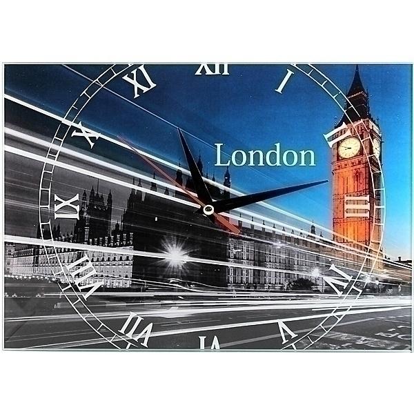 Часы настенные London, стеклянные, цвет: мульти. 9530995309Оригинальные настенные часы London прямоугольной формы выполнены из стекла и оформлены изображением Лондона. Часы имеют три стрелки - часовую, минутную и секундную. Циферблат часов не защищен. Необычное дизайнерское решение и качество исполнения придутся по вкусу каждому. Оформите совой дом таким интерьерным аксессуаром или преподнесите его в качестве презента друзьям, и они оценят ваш оригинальный вкус и неординарность подарка. Характеристики: Материал: пластик, стекло. Размер: 28 см x 20 см x 2 см. Размер упаковки: 30 см х 21,5 см х 4,5 см. Артикул: 95309. Работают от батарейки типа АА (в комплект не входит).