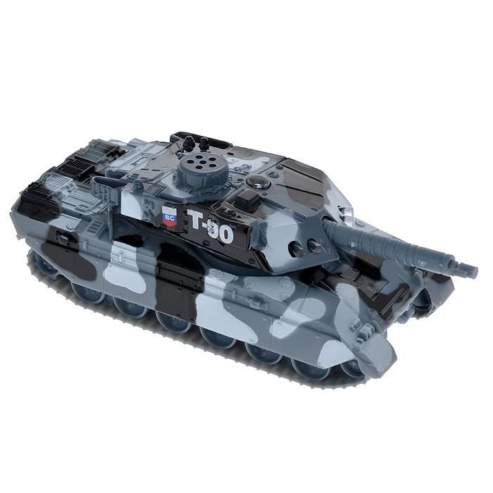 ТехноПарк Танк Т-90CT10-029-1Игрушка ТехноПарк Танк со световыми и звуковыми эффектами надолго привлечет внимание вашего ребенка. Она выполнена из металла с элементами пластика в виде танка. У игрушки вращается башня. Если ребенок нажмет на башню, то он услышит звуки работающего танка, при этом будут светиться лампочке на корпусе. Ваш ребенок будет часами играть с танком, придумывая различные истории. Порадуйте его таким замечательным подарком! Характеристики: Материал: металл, пластик. Размер танка (ДхШхВ): 14 см х 5 см х 6 см. Размер упаковки (ДхШхВ): 21 см х 13 см х 7 см. Изготовитель: Китай. Танк работает от батареек типа таблетка (не входят в комплект).
