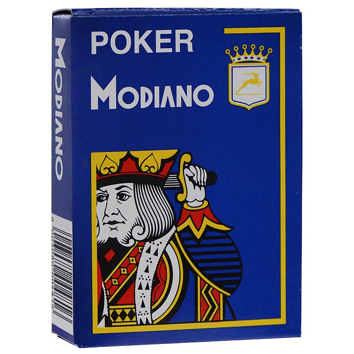 Карты игральные Modiano (Jumbo Index), цвет: синий, 54 карты300481 синийИгральные карты Modiano изготовлены из пластика, что сохранит карты от выцветания и изнашивания. Карты с увеличенным индексом предназначены для игры в покер и другие карточные игры. Игральные карты голубой доставят вам удовольствие от игры. Комплектация: 54 шт. Размер карты: 6,3 см х 8,9 см.