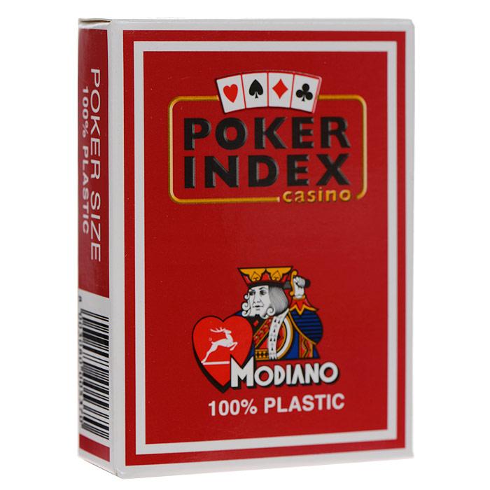 Карты игральные Modiano Покер Индекс, цвет: красный, 54 карты. 300537300537 красныйИгральные карты Покер Индекс с рубашкой красного цвета подходят для игры в покер. Двойной индекс от Modiano, сочетающий маленький индекс в углах карты, который дублируется увеличенным индексом, смещенным ближе к центру. Карты имеют очень гладкую поверхность, высококачественный пластик и стандартный размер poker.