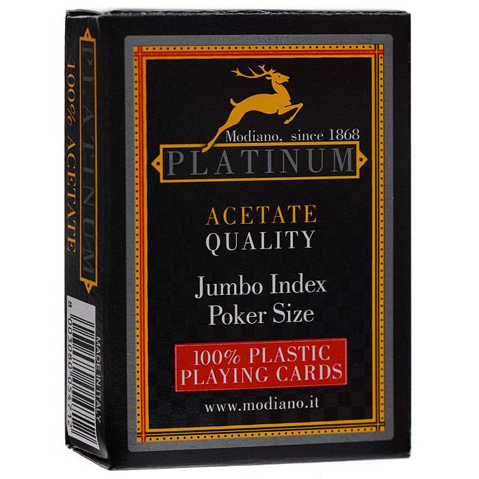 Карты игральные Modiano Платинум, 54 карты, цвет: красный3005472 черныйКарты Платинум с рубашкой красного цвета, подходят для профессиональных игроков в покер, имеют увеличенный индекс, так как имеют очень гладкую поверхность, высококачественное покрытие и стандартный покерный размер.