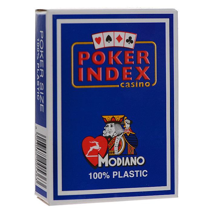 Карты игральные Modiano Покер Индекс, цвет: синий, 54 карты. 300536300536 синийИгральные карты Покер Индекс с рубашкой синего цвета подходят для игры в покер. Двойной индекс от Modiano, сочетающий маленький индекс в углах карты, который дублируется увеличенным индексом, смещенным ближе к центру. Карты имеют очень гладкую поверхность, высококачественный пластик и стандартный размер poker.