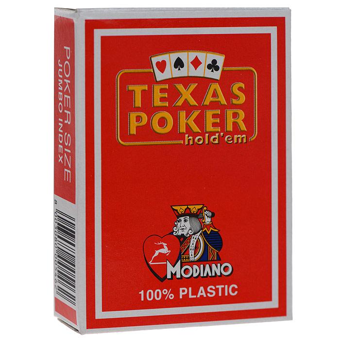 Карты игральные Modiano Техас Покер. 100% plastic, красная рубашка, цвет: красный, 54 карты. 300546300546 красныйИгральные карты Техас Покер с рубашкой красного цвета подходят для игры в покер. Крупный индекс в двух углах. Карты имеют очень гладкую поверхность, высококачественный пластик и стандартный размер poker.