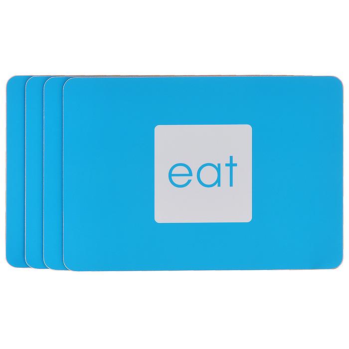 Набор подставок под горячее Block Colour, цвет: голубой, 4 шт1203534Набор Block Colour включает четыре прямоугольные подставки под горячее, выполненные из пластика и пробки. Подставки голубого цвета оформлены надписью eat. Такие подставки защищают поверхность стола от загрязнений и воздействия высоких температур. Яркий дизайн подставок украсит интерьер вашей кухни и привнесет индивидуальности в обычную сервировку стола.