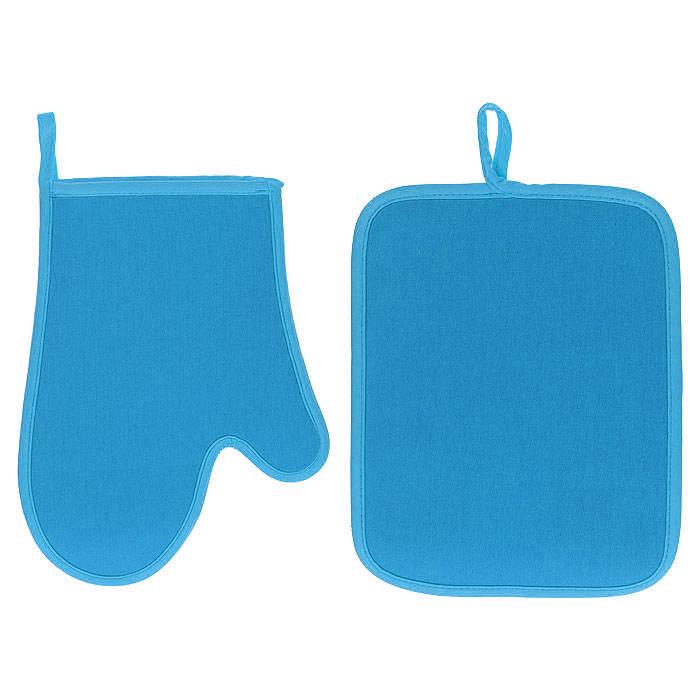 Набор Premier Housewares: прихватка, рукавица, цвет: голубой0806550Набор Premier Housewares состоит из прихватки и рукавицы, выполненных из неопрена голубого цвета. Материал очень прочный, эластичный, способен выдерживать температуру до 220°С. Прихватки надежно защитят ваши руки от ожогов, а своим ярким дизайном украсят вашу кухню. Прихватки можно подвешивать благодаря имеющимся на них петелькам. Такой набор - отличный вариант для практичной и современной хозяйки.