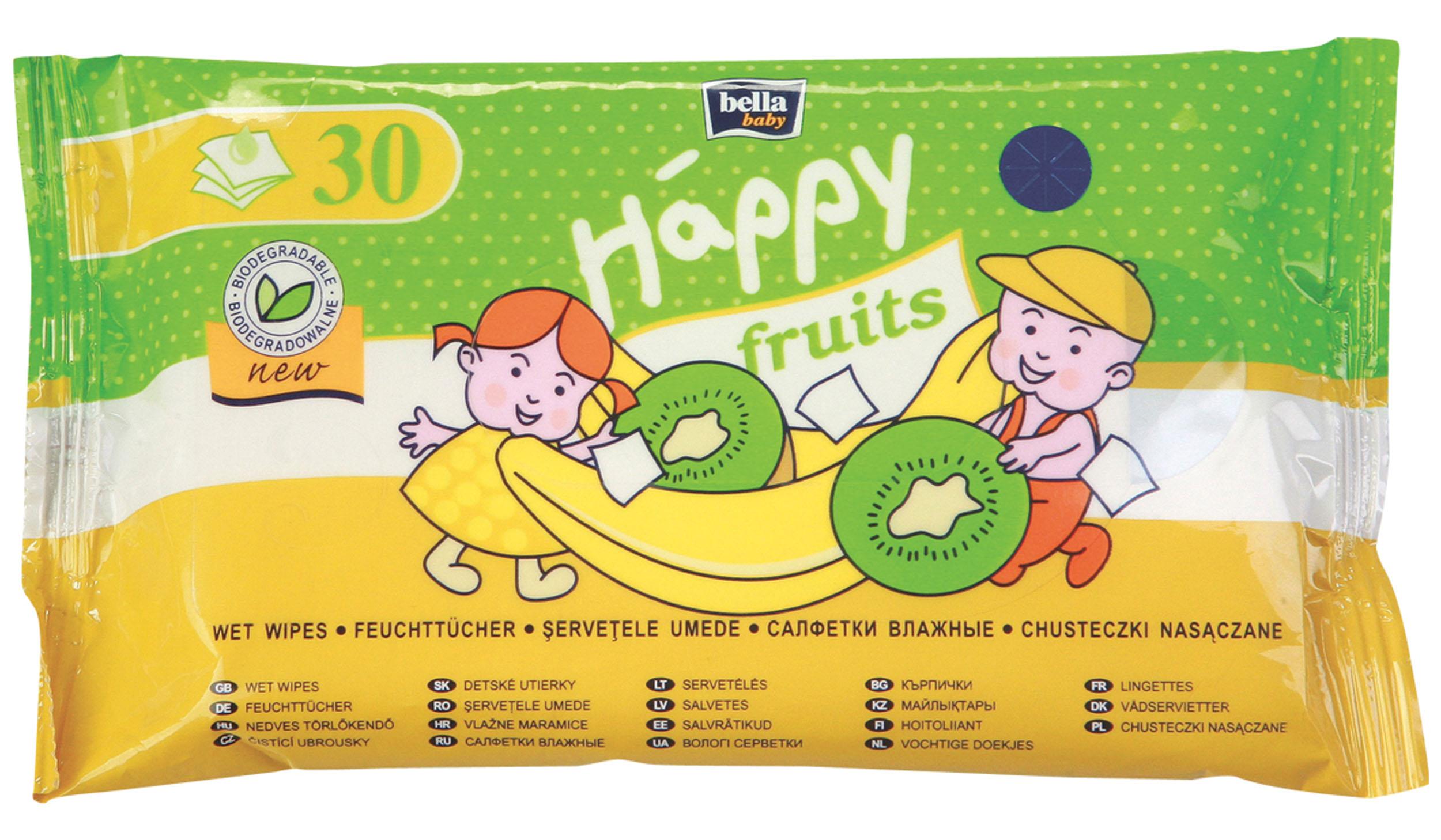 Bella Салфетки влажные Baby Happy Fruits, с ароматом банана и киви, 30 штBB-062-WF30-004Салфетки Happy Fruits с ароматом киви и бананом - биоразлагаемые влажные салфетки для детей старше двухлетнего возраста, которые начинают приучаться к самостоятельной гигиене. Интенсивный фруктовый аромат заинтересует Вашего Ребенка и поможет научиться пользоваться горшком или туалетом. Салфетки Happy Fruits это приятный и одновременно простой способ соблюдать гигиену Малыша – после использования можно легко их смыть в туалете. Салфетки обладают успокаивающими и увлажняющими свойствами, благодаря чему превосходно подходят также для очищения кожи рук и лица.