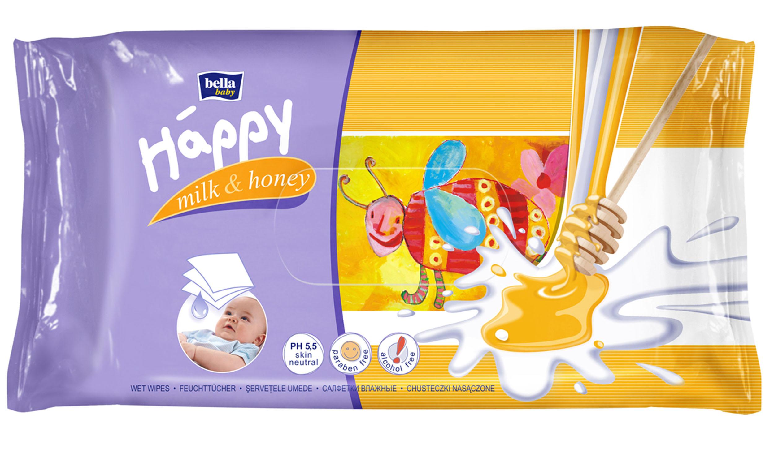 Bella Влажные салфетки Baby Happy Молоко и мед, 64 штBB-062-WM64-003Влажные салфетки Bella Baby Happy Молоко и Мед содержат молочный протеин, а также экстракт меда. Природные молочные протеины тщательно очищают и увлажняют кожу, а экстракт меда смягчает покраснения и раздражения. Салфетки обладают нейтральным pH, благодаря чему сохраняется естественный защитный барьер кожи. Предназначенные для ухода за всем телом младенцев и детей. Салфетки не содержат спирта. Товар сертифицирован.