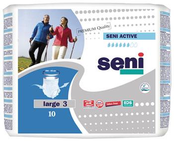 Трусы впитывающие для взрослых Seni Active, одноразовые, размер 3 (100-135 см), 10 штSE-096-LA10-RU1Seni Active – дышащие впитывающие трусы для защиты при средней и тяжелой степени недержания мочи. Идеальны для лиц, сохранивших подвижность и ведущих активный образ жизни. Главным достоинством Seni Active является то, что изделия выглядят и применяются как обычное нижнее белье. Двойной впитывающий слой с суперабсорбентом обеспечивает высокий уровень впитываемости. Внутренние боковые бортики защищают от протекания жидкости по бокам. Отсутствие латексных элементов уменьшает риск появления аллергических реакций на латекс (Latex Free). Специальная система Odour Stop нейтрализует неприятный запах. Легко снять использованное изделие - нужно просто разорвать боковые швы.