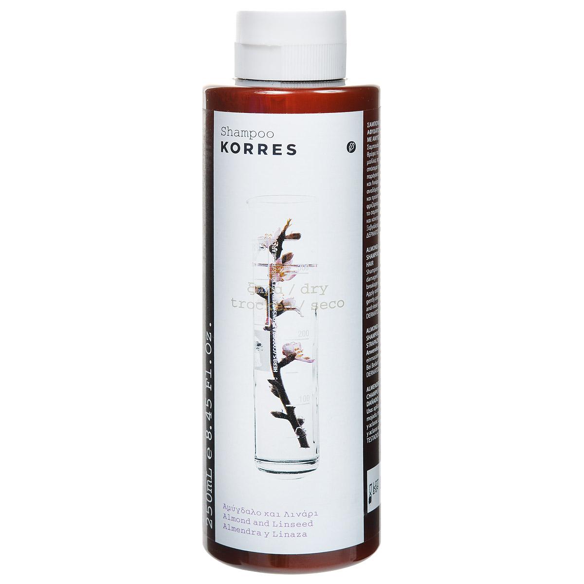 Korres Шампунь для нормальных, сухих и поврежденных волос, с миндалем и семенами льна, 250 мл