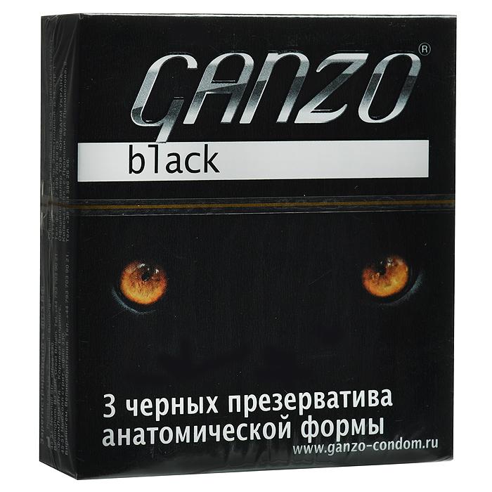 """Ganzo Презервативы """"Black"""", черные, 3 шт"""