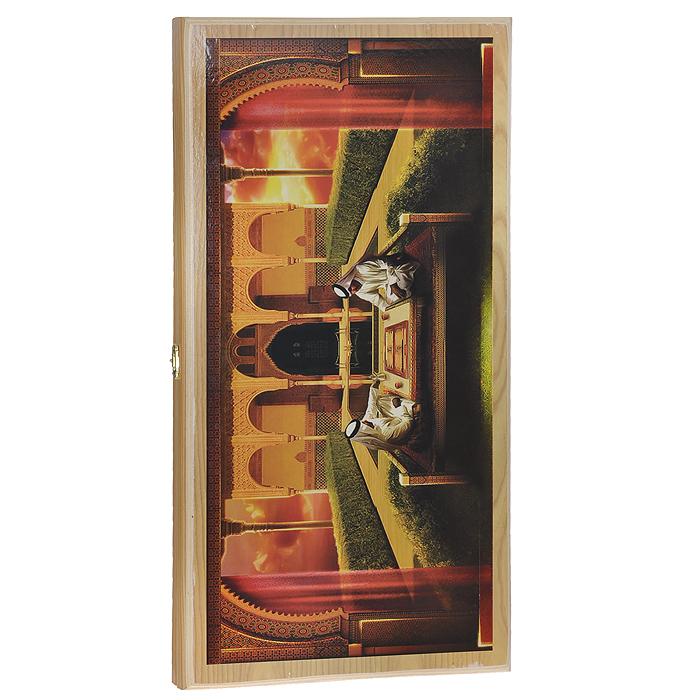 Нарды средние Походные. Игроки в нарды, размер: 50х25х4 см. 1046/101046/10Нарды Походные. Игроки в нарды представляют собой деревянный кейс, который закрывается на металлический замок. Крышка оформлена оригинальным изображением игроков в нарды. Внутренняя часть кейса - игровое поле для игры в нарды. В наборе имеются два игральных кубика и деревянные шашки. На внешней стороне кейса расположено поле для игры в шашки. Цель игры состоит в том, чтобы сначала привести шашки в свой дом (мешая в тоже время сделать это сопернику), а затем, когда это удалось сделать, снять их с доски быстрее соперника. Побеждает тот, кто первым снял свои шашки. Нарды - древняя восточная игра. Родина этой игры неизвестна, однако, известно, что люди играют в эту игру уже более 7000 лет. На игровой доске для нард все кратно шести и имеет связь со временем. 24 пункта представляют 24 часа, 30 шашек представляют 30 дней в месяце, 12 пунктов на каждой стороне доски символизируют 12 месяцев. Нарды - это отличный подарок, который понравится каждому.