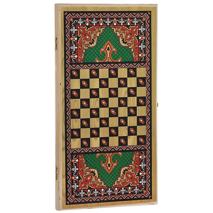 Нарды средние Походные. Зеленый узор, размер: 50х25х4 см. 1046/11046/1Нарды Походные. Зеленый узор представляют собой деревянный кейс, который закрывается на металлический замок. Крышка оформлена оригинальным изящным орнаментом. Внутренняя часть кейса - игровое поле для игры в нарды. В наборе имеются два игральных кубика и деревянные шашки. На внешней стороне кейса имеется поле для игры в шашки. Цель игры состоит в том, чтобы сначала привести шашки в свой дом (мешая в тоже время сделать это сопернику), а затем, когда это удалось сделать, снять их с доски быстрее соперника. Побеждает тот, кто первым снял свои шашки. Нарды - древняя восточная игра. Родина этой игры неизвестна, однако, известно, что люди играют в эту игру уже более 7000 лет. На игровой доске для нард все кратно шести и имеет связь со временем. 24 пункта представляют 24 часа, 30 шашек представляют 30 дней в месяце, 12 пунктов на каждой стороне доски символизируют 12 месяцев. Нарды - это отличный подарок, который понравится каждому.