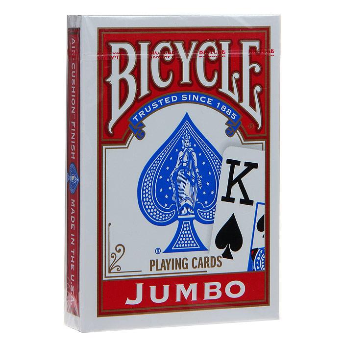 Карты игральные Bicycle Jumbo, цвет: красный, 54 карты. 9105к9105кИгральные карты Байсикл Джамбо с рубашкой красного цвета подходят для игры в покер. Крупный индекс в двух углах. Карты имеют очень гладкую поверхность, высококачественный пластик и стандартный размер poker.