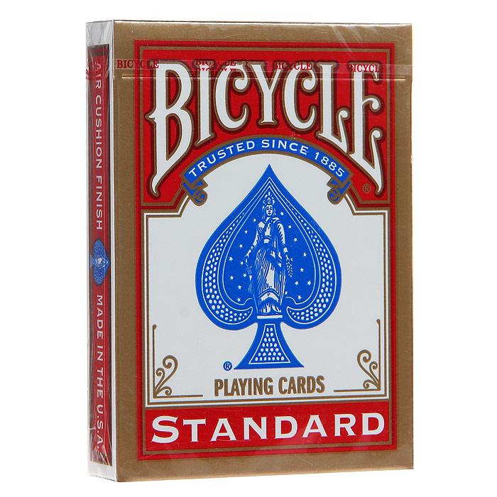 Карты игральные Bicycle Standard, цвет: красный, 54 карты. 9101к9101кИгральные карты Байсикл Стандарт с рубашкой красного цвета подходят для игры в покер. Карты выполнены из многослойного картона с пластиковым покрытием. Крупный индекс в двух углах. Карты имеют очень гладкую поверхность, высококачественный пластик и стандартный размер poker.