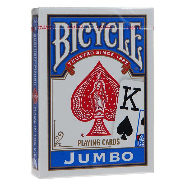 Карты игральные Bicycle Jumbo, цвет: синий, 54 карты. 9105с9105сИгральные карты Байсикл Джамбо с рубашкой синего цвета подходят для игры в покер. Крупный индекс в двух углах. Карты имеют очень гладкую поверхность, высококачественный пластик и стандартный размер poker.