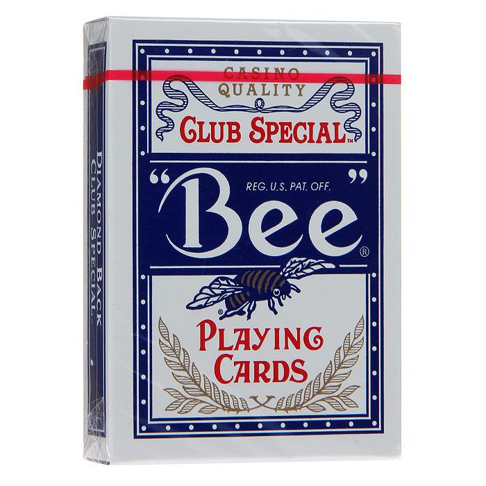 Карты игральные Bee Club Special, цвет: синий, 54 карты. 9100с9100сИгральные карты Пчела с рубашкой синего цвета подходят для игры в покер. Крупный индекс в двух углах. Карты имеют очень гладкую поверхность, высококачественный пластик и стандартный размер poker. На рубашке изображена пчела.