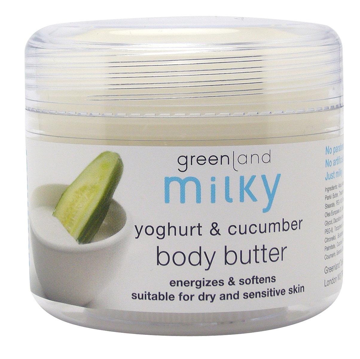 Greenland Крем для тела Milky, с йогуртом и огурцом, 150 мл0901-MY53Крем для тела глубоко увлажняет и питает кожу, делая ее более эластичной. Естественные компоненты йогурта успокаивают и смягчают кожу, витамины, содержащиеся в экстракте огурца, насыщают ее энергией. Способ применения: Наносите на тело легкими массажными движениями.