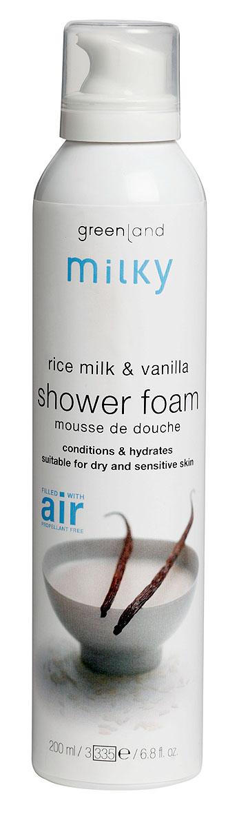 Greenland Мусс для душа Milky, с рисовым молочком и ванилью, 200 мл1256-MY21Легкий мусс для душа бережно очищает кожу, делая ее нежной и шелковистой. Протеины рисового молочка увлажняют и смягчают кожу, ваниль придает ей нежный аромат. Способ применения: Наносите на влажную кожу массажными движениями, , а затем смойте водой.
