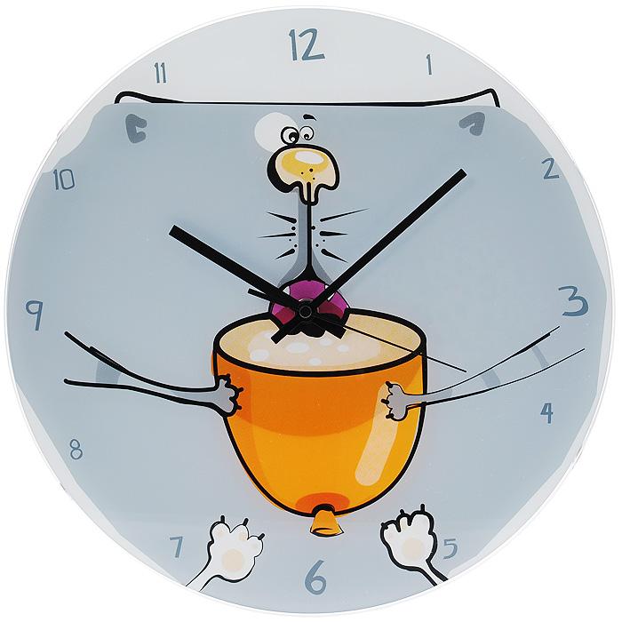 """Часы настенные """"Котик в чашке"""", кварцевые. 637886"""