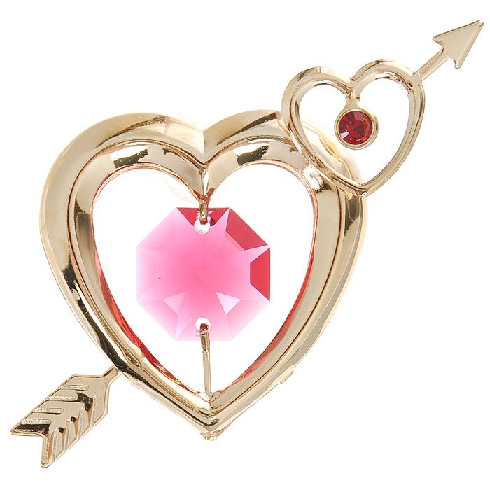 Фигурка декоративная Сердца, на присоске, цвет: золотистый, розовый. 6726267262Притягательный блеск и невероятная утонченность декоративной фигурки Сердца великолепно дополнят интерьер и, несомненно, не останутся без внимания. Фигурка выполнена из металла с блестящим золотистым покрытием в виде двух сердечек на присоске, украшена стразом и кристаллом Swarovski. Декоративная фигурка Сердца послужит прекрасным подарком ценителю изысканных и элегантных вещиц. Характеристики: Материал: металл, кристаллы Swarovski. Размер фигурки: 6 см х 0,5 см х 4 см. Цвет: золотистый, розовый. Артикул: 67262.