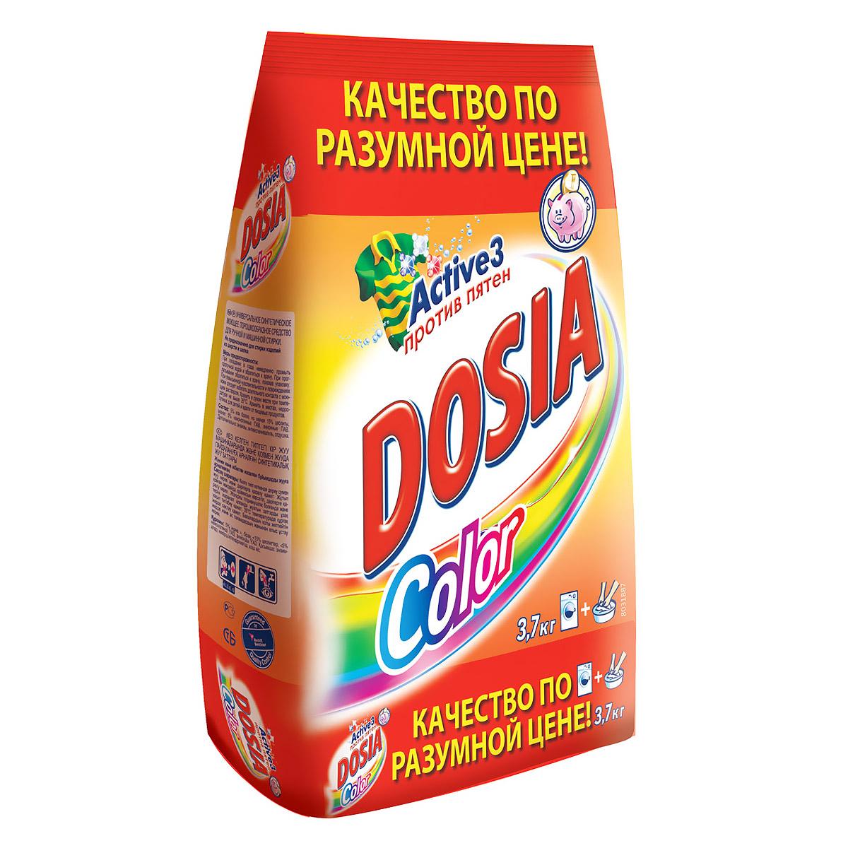 Стиральный порошок Dosia Color. Active 3, 3,7 кгBNC 401481 RUСтиральный порошок Dosia Color. Active 3 предназначен для стирки в стиральных машинах любого типа, также подходит для ручной стирки. Стиральный порошок содержит три активных компонента против различных пятен, которые: - воздействуют на волокна ткани и удаляют общие загрязнения; - удаляют сложные пятна; - не повреждают цвет вещей. Насладитесь идеальной чистотой и свежестью ваших вещей с новой Dosia!