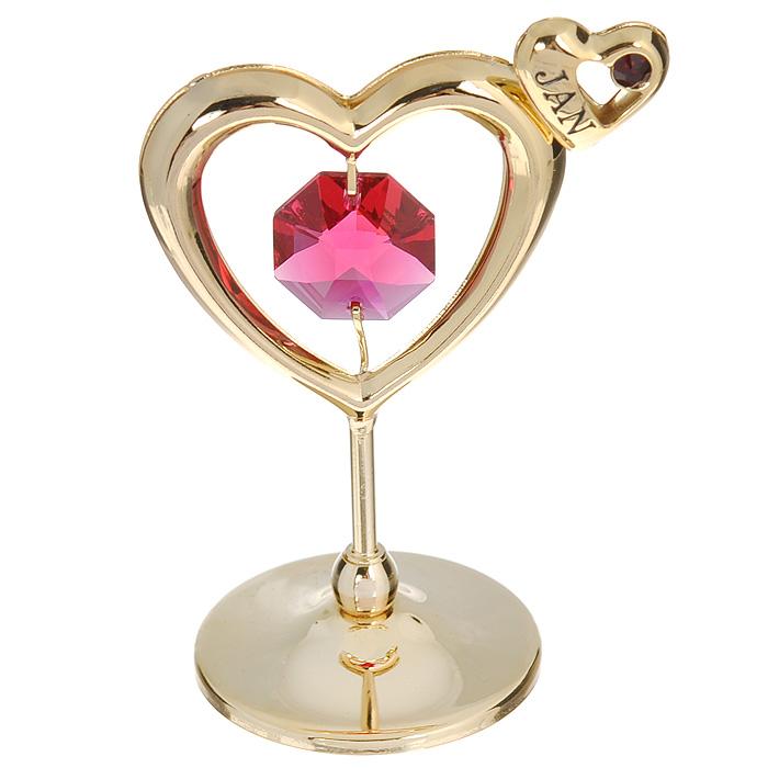 Держатель для визиток Сердечко, цвет: золотистый, розовый. 6753767537Держатель для визиток Сердечко украшен розовым кристаллом Swarovski и изготовлен из высококачественной стали. Оригинальный держатель для визиток будет отличным подарком для ваших близких, друзей и коллег. Более 30 лет компания Crystocraft создает качественные, красивые и изящные сувениры, декорированные различными кристаллами Swarovski. Характеристики: Материал: металл, кристаллы Swarovski. Размер держателя: 3 см х 0,5 см х 6 см. Цвет: золотистый, розовый. Артикул: 67537.