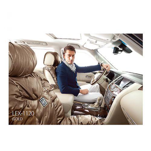 Накидки на сиденья Lex, экокожа, цвет: золотистый, 7 предметов. LEX-1120 GOLDLEX-1120 GOLDНакидки на автомобильные сиденья премиум-класса Lex способны добавить роскоши интерьеру даже самых респектабельных автомобилей. Накидки изготовлены из высококачественной экокожи, которая выполнена на основе текстиля с напылением из полиуретана. Полиуретан имитирует структуру натуральной кожи, но при этом обладает дышащими свойствами и устойчивостью к внешнему воздействию. В качестве наполнителя в накидках Lex используется синтепон, который хорошо сохраняет форму и обеспечивает комфорт водителя и пассажиров во время поездок. Накидки на кресла Lex отличаются большой универсальностью и без усилий устанавливаются на любые кресла. В спинках передних сидений имеются карманы. Имеется возможность использования с боковыми airbag. Комплектация: - 1 накидка на задний ряд, - 2 накидки переднего ряда, - 4 подголовника, - набор фиксирующих крючков на широких резинках. Особенности: Наполнитель - синтепон Карманы в спинках...