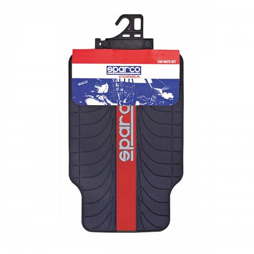 """Ковры автомобильные Sparco """"Racing"""", ПВХ, морозоустойчивые, цвет: черный, красный, 4 предмета SPC/RCN-504 BK/RD"""