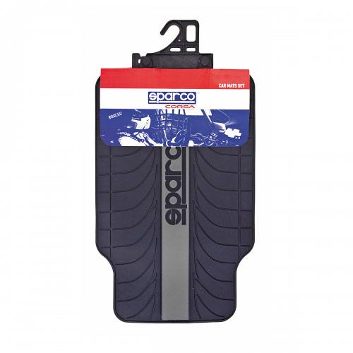 """Ковры автомобильные Sparco """"Racing"""", ПВХ, морозоустойчивые, цвет: черный, серый, 4 предмета SPC/RCN-504 BK/GY"""